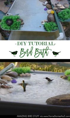 Learn how to create a beautiful DIY bird bath with this step-by-step pictorial tutorial! All you will need is an oil pan, PVC pipe, pump, and plastic tub filled with water!