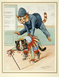 """A Wonderful and Playful Original Louis Wain WatercolorWAIN, Louis """"Leap-frog. Original pen, ink, and watercolor drawing. Signed at lower right. Louis Wain Cats, Son Chat, Cat Drawing, Watercolor Drawing, Cat Posters, Cat Design, Cool Cats, Cat Art, Cats And Kittens"""