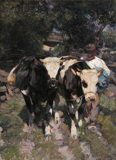 Heinrich Johann von Zugel~ FARMER WITH COWS, 1900