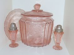 Pink Open Rose depression glass