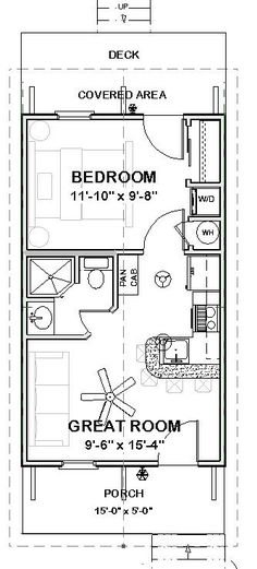Granny pods guest houses Custom Tiny House Home Building Plans 1 bed Cottage 390 sf --- PDF file Cottage Floor Plans, Small House Plans, House Floor Plans, Guest Cottage Plans, 1 Bedroom House Plans, 20x30 House Plans, Guest House Plans, Mobile Home Floor Plans, The Plan