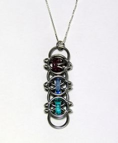Glass Pendant Chain Maille Pendant Purple Blue by XairianMaille, $18.00