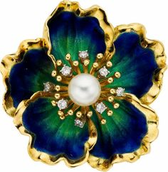 Cultured Pearl, Diamond, Enamel, Gold Brooch The brooch features a freshwater cultured pearl measuring 6.90 mm, enhanced by full-cut diamonds weighing a total of approximately 0.20 carat, set in 18k white gold, accented by enamel applied on 18k gold. Gross weight 19.90 grams.