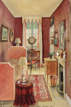 Watercolour painting of a bedroom at King Henry's Hunting Lodge, Hampshire, by Alexandre Serebriakoff The painting is dated 1948 and depicts the room when John Fowler lived at the Lodge. Interior Rendering, Interior Sketch, Interior Paint, Home Interior Design, Interior And Exterior, Pastel Interior, 1940s Home, Bedroom Red, Vintage Interiors