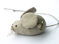 Embroidered mouse linen pincushion by BelaStitches on Etsy, $14.00