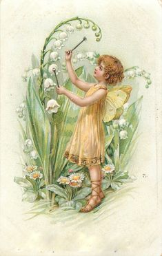 bumble button: Adorable Turn of the Century Baby Fairies Free Clip Art
