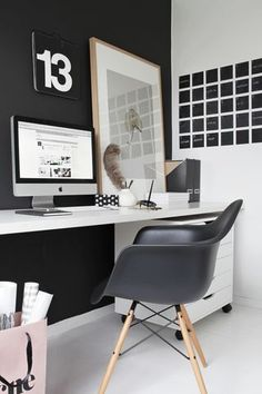black and white minimal office decor