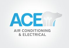 Logo Design by H Create!  ACE Air Conditioning & Electrical.   Use of cool greys and blues and an abstract polar bear light bulb icon.