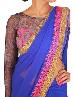 Royal Blue Lace work saree with Stitched Full Sleeve lace blouse top view