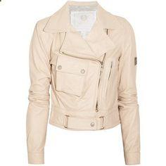 Beige leather jacket. Love it, want it, need it.