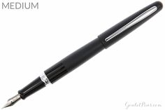 A fantastic value fountain pen from Pilot. This black metal bodied pen has a black accent band and a medium steel nib. It comes with a squeeze converter and an ink cartridge, or you can upgrade to a CON-50 twist piston converter if you prefer. Accepts Pilot cartridges.<br>