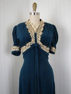 1930s Dress  Vintage 30s Cutest Teal Ivory Velour by jumblelaya, $238.00