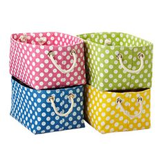 Large Polka Dot Storage Bins...I'd love one in every color