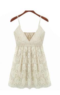 White Deep V-neck Spaghetti Straps Sleeveless Pleating Lace Dress