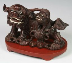 CHINESE FOO DOGS | 5382: Chinese Rosewood Foo Dogs : Lot 5382