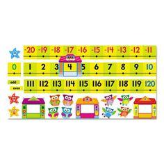 Bulletin Board Set, Number Line, Owl-Stars, 40 Ft, 49 Pieces/kit