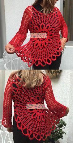 Hermosa blusa tejida. // Beautiful knitted garment.