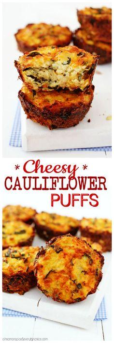 Baked Cauliflower Puffs w/ Cheddar & Spinach (Spinach Recipes Casserole) Spinach Recipes, Veggie Recipes, Baby Food Recipes, Low Carb Recipes, Vegetarian Recipes, Cooking Recipes, Cooking Eggs, Veggie Meals, Baked Cauliflower