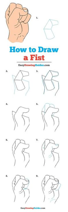 How to Draw a Fist – Really Easy Drawing Tutorial Learn How to a Draw Fist: Easy Step-by-Step Drawing Tutorial for Kids and Beginners. See the full tutorial at easydrawingguides…. Easy Drawing Tutorial, Hands Tutorial, Sketches Tutorial, Step By Step Sketches, Beginner Sketches, Drawing Tutorials For Beginners, Step By Step Drawing, Art Tutorials, Drawing Anime Hands