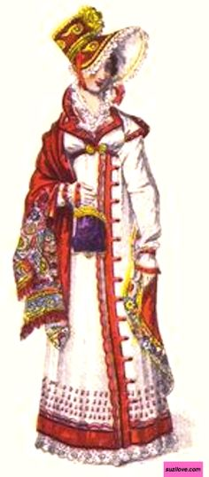 1817   Walking Dress, or Pelisse, or Redingote, English.  Matching red bonnet with wide lace-trimmed brim and feather, red shawl, red military style trim on vertical front, collar, and hem, and matching reticule.  Fashion Plate via John Belle at La Belle Assemblee.                                              suzilove.com