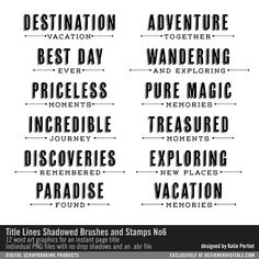 Title Lines Shadowed Brushes and Stamps No. 06 travel sentiments for instant page titles for scrapbooking #designerdigitals