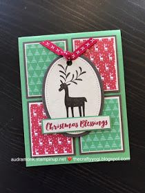 Christmas Card, Stampin'Up. Merry Mistletoe stamp set and Be Merry DSP. thecraftyyogi.blogspot.com, Audra Monk