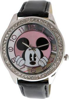 Disney Mickey Mouse Women's MK1236 Rhinestone Accent Dial Black Strap Watch #Disney #FashionCasual