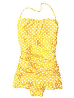 she wore an itsy bitsy teeny weeny yellow polka dot one piece.