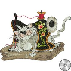 Fancy Cats Embroidery Design Collection | Compact Disc