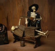Funny Miniature Scene Skeletons Magic Show for your Dollhouse by DinkyWorld on Etsy