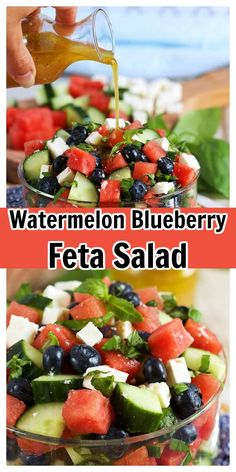 Refreshing and simple, Watermelon Blueberry Feta Salad with Cucumbers is the summer side dish recipe you'll make all season. The BEST flavors of summer! Mexican Corn Side Dish, Taco Side Dishes, Summer Side Dishes, Potluck Dishes, Healthy Side Dishes, Dinner Dishes, Side Dishes Easy, Food Dishes, Corn Recipes