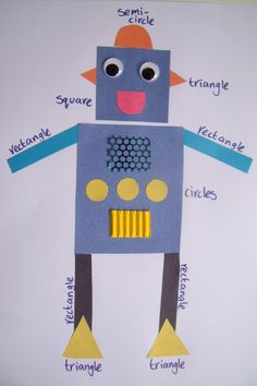 Robot collage to teach reinforce shape recognition and early maths - picture only (The Classroom Creative) Kindergarten Art, Math Classroom, Math Activities, Preschool Activities, 2d Shapes Activities, Maths Fun, Preschool Shapes, Preschool Education, Teaching Shapes