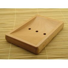 Natural Wood Rectangle Soap Dish (12 ct Case)