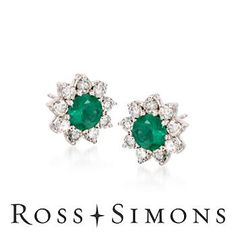 1980's vintage emerald and #diamond earrings.  I own a similar pair. Lucky me.