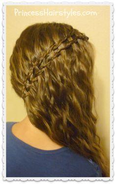 Side swept braided scissor waterfall hairstyle