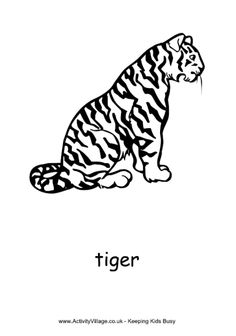Tiger coloring page, sitting tiger