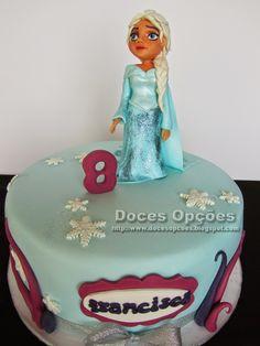 Doces Opções: Bolo de aniversário Disney Frozen Elsa rainha da n...