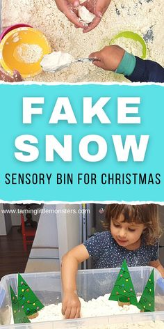 Learn how to make fake snow for a fun and easy Sensory Bin. Toddlers and preschoolers will love this sensory activity which is perfect for Christmas or Winter themed lesson plans.  #sensory #christmas #winter #toddlers #preschool Tactile Activities, Activities For 2 Year Olds, Gross Motor Activities, Outdoor Activities For Kids, Infant Activities, Sensory Bins, Sensory Play, Popsicle Stick Christmas Crafts, Fake Snow