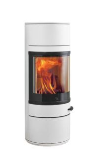 White stove from Scan dk. you can also get this in a hot red. White Stove, Real Fire, Log Burner, Curved Glass, Modern Fireplace, Wood Storage, Wood Burning, Glass Door, Simple Designs
