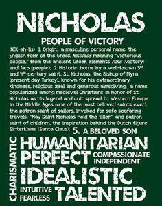 NICHOLAS Personalized Name Print / Typography Print by OhBabyNames