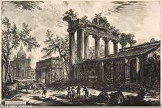 Giovan Battista Piranesi, Veduta del Tempio detto della Concordia, 1748-78, incisione, Universiteitsbibliotheek, Gent, Belgio