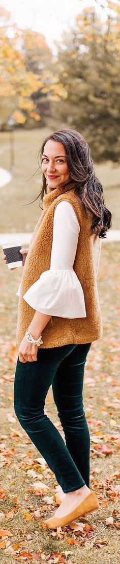 #fall #outfits beige sleevless coat green velvet pants