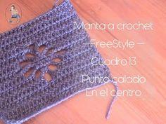 Manta a crochet Freestyle cuadro 13: punto calado en el centro (diestro) - YouTube