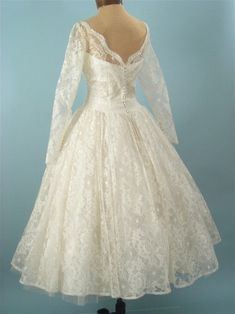1950\s tea length wedding dress, vintage wedding gown. TEA LENGTH!!