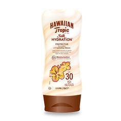 Hawaiian Tropic Silk Hydration Protective Sun Lotion SPF 30 180ml - start with this, it will not only protect from the sun, but will moisturize acting as a perfect primer