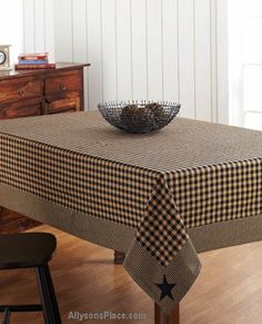 Black Applique Star Tablecloths/ Like us on Facebook!  https://www.facebook.com/AllysonsPlaceDecor / #Primitive #country #Cabin