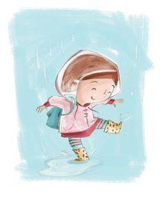 Simona Sanfilippo Illustration - simona, sanfilippo, simona sanfilippo, commercial, picture book, fiction, educational, digital, paint, painted, acrylic, YA, young reader, girl, rain, raincoat,