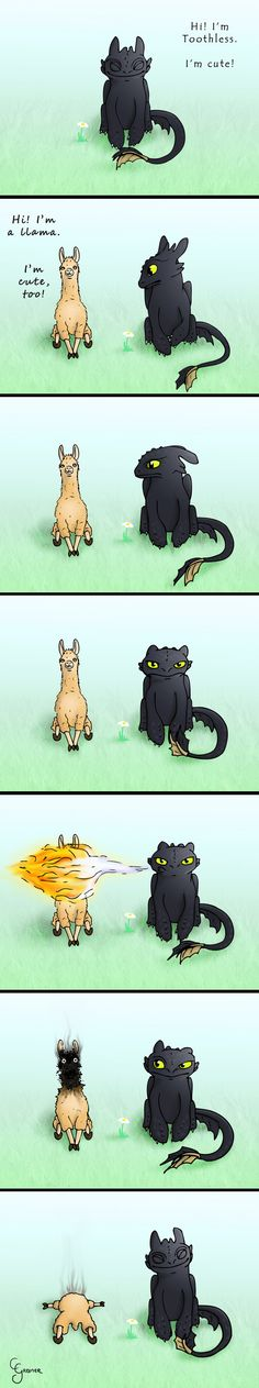 Toothless_vs__Llama_by_carpenoctem410. I JUST LAUGHED TOO HARD!!!!!!!!!! and Toothless is MUCH cuter than some smelly lama!!!!!!!