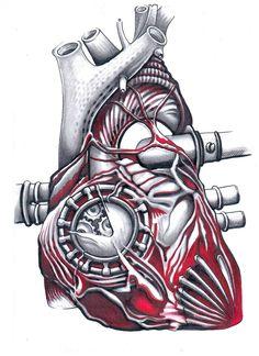 Механическое сердце. Скачать тату фото, эскиз татуировки.
