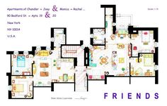 Friends | 13 Incredibly Detailed Floor Plans Of The Most Famous TV Show Homes